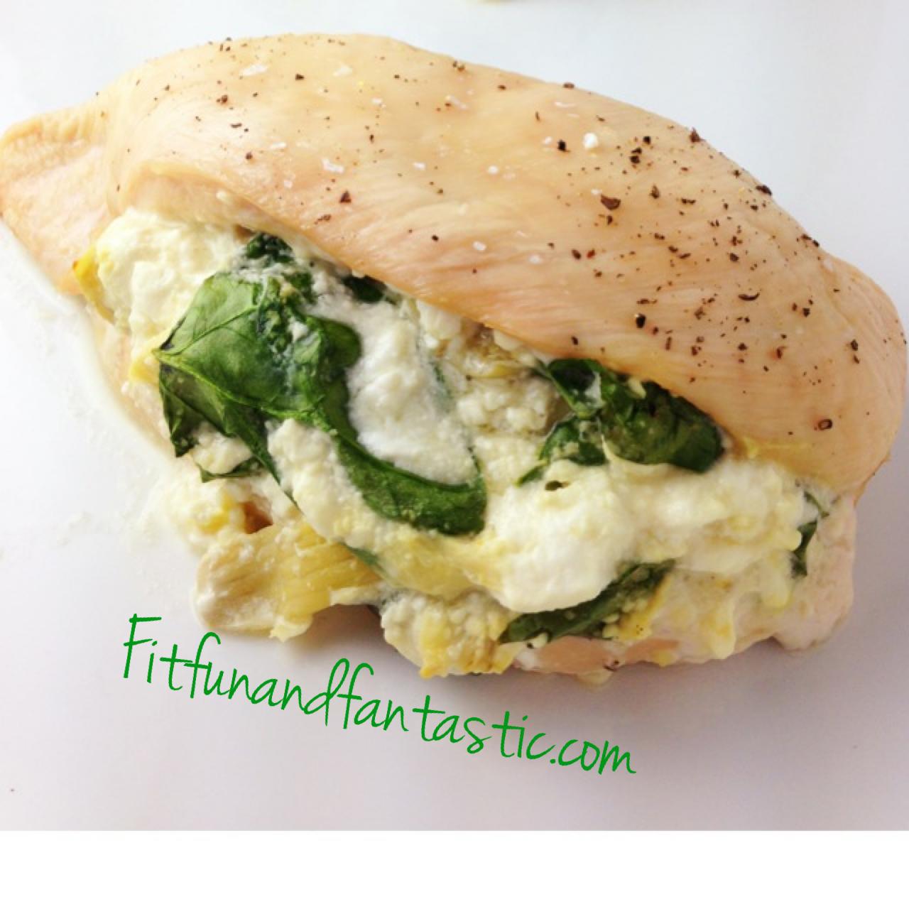 Fantastically Fit | Spinach Artichoke Stuffed Chicken
